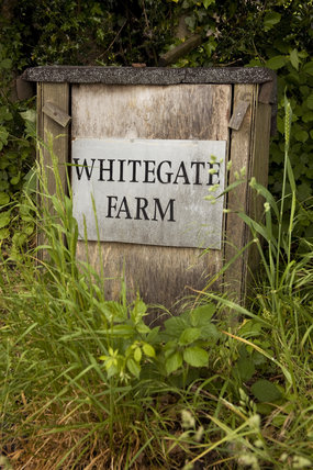 Sign for Whitegate Farm. The Farm has been acquired so that the garden at Sissinghurst Castle can be reconnected with the landscape