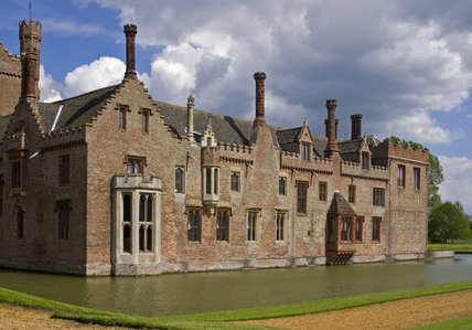 The west range of Oxburgh Hall, Norfolk, a fifteenth century moated manor house, home to the Bedingfeld family since 1482
