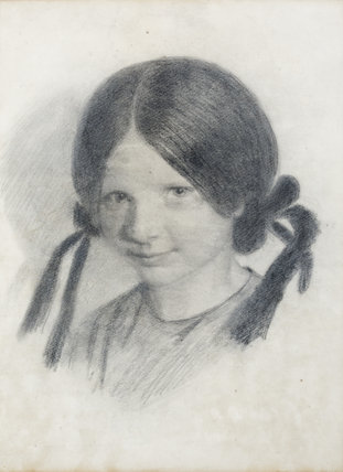 LUCY MADOX BROWN by Ford Madox Brown, (1821-1893), crayon drawing at Wightwick Manor, Warwickshire