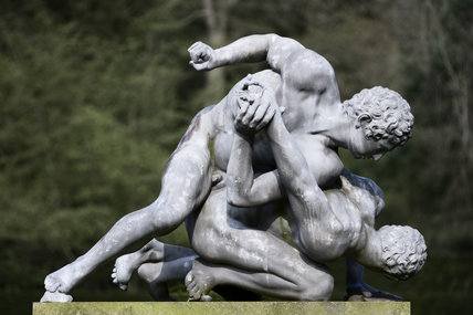 Statue of The Wrestlers at Studley Royal Water Garden, North Yorkshire