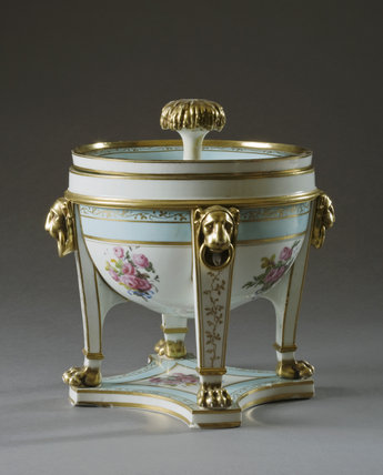 An ice pail and cover from a Sevres dessert service at Hinton Ampner, Hampshire