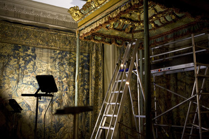 Tower scaffolding in place under the bed frame of the King James II bed at Knole, Kent