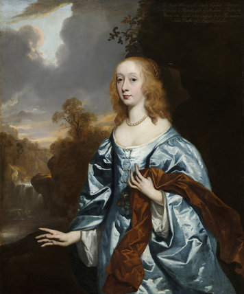 ELIZABETH MURRAY, COUNTESS OF DYSART, DUCHESS OF LAUDERDALE, IN HER YOUTH (1626-98) by Sir Peter Lely (1618-80), painting in the Duchess's Bedchamber at Ham House, Richmond-upon-Thames