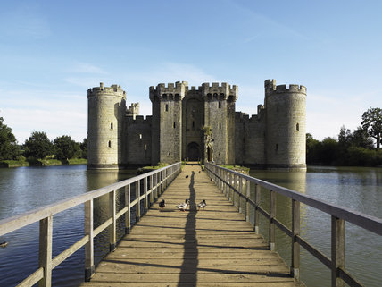 View along the bridge, leading to Bodiam Castle, East Sussex, built between 1385 and 1388