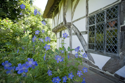 Alfriston Clergy House, a fourteenth-century Wealden hall house in a cottage style garden in East Sussex