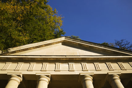 The Temple of Piety with pediment and Tuscan columns, at Studley Royal Water Garden, North Yorkshire