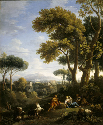 CLASSICAL LANDSCAPE WITH A TRAVELLER AND TWO WOMEN CONVERSING AND THREE GOATS GAMBOLLING by l'Orizzonte (1662-1749) (ATT/P/67) from Attingham Park. Credit line : Attingham Park, The Berwick Collection (The National Trust