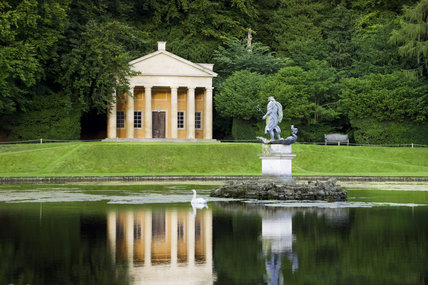 The Temple of Piety with pediment and Tuscan columns at Studley Royal Water Garden, North Yorkshire