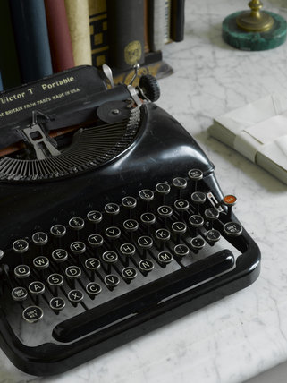 A Remington Victor T portable manual typewriter in the Fax Room at Greenway, Devon, which was the holiday home of the crime writer Agatha Christie between 1938 and 1976