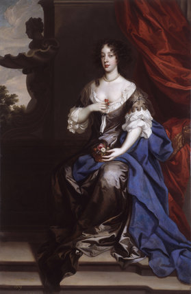 MARY OF MODENA DUCHESS OF YORK (1658-1718) by Sir Peter Lely (1618-1680), painting in the State Bedchamber at Kedleston Hall, Derbyshire