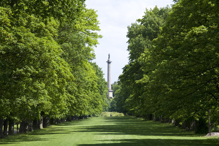 View down the Long Walk towards the Column to Liberty rising 140 feet above the estate at Gibside, Newcastle upon Tyne