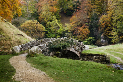 Part of the Seven Bridges Walk at Studley Royal Water Gardens established by John Aislabie in 1716 adjoining Fountains Abbey, North Yorkshire
