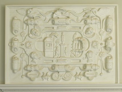 Plasterwork overmantel in the Winter Dining Room at Greenway, Devon, which was the holiday home of the crime writer Agatha Christie