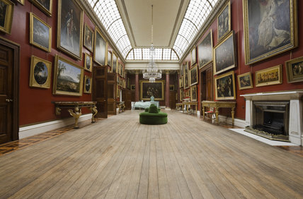 The cleaned floorboards revealed prior to fitting a new carpet in the Picture Gallery at Attingham Park, Shropshire