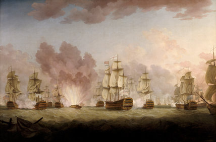 A painting of THE SPANISH SHIP SAINT DOMINGO BLOWN UP DURING THE ACTION WITH SPANISH FLEET OFF ST