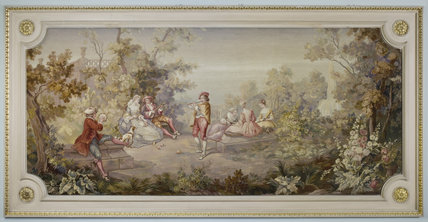 Aubusson-Felletin tapestry panel after a painting by French artist Nicolas Lancret, in the Staircase Hall at Berrington Hall, Herefordshire