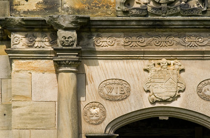 Close view of architectural detail on the facade of Gibside Hall, Newcastle upon Tyne