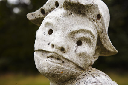Close view of sculpture in the Long Garden at Cliveden, Buckinghamshire