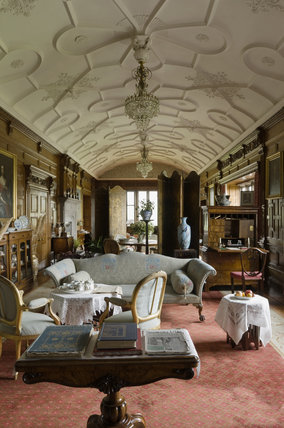 The Drawing Room with barrel vaulted plasterwork ceiling,  looking north at Lanhydrock, Cornwall