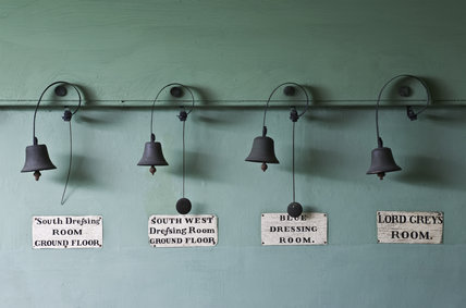 Servants bells, above the door to The Study,  for Lord Grey's Room and various Dressing Rooms at Dunham Massey, Cheshire