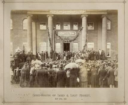 Archive photograph of the homecoming after the honeymoon of Lord and Lady Rodney on May 27th 1891, in the Back Hall at Berrington Hall, Herefordshire