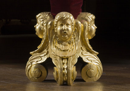 Detail of one of the feet of the State Bed in the Queen Anne Room at Dunham Massey, Cheshire
