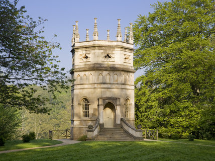 The pinnacled Octagon Tower on the valley side at Studley Royal Water Gardens, North Yorkshire