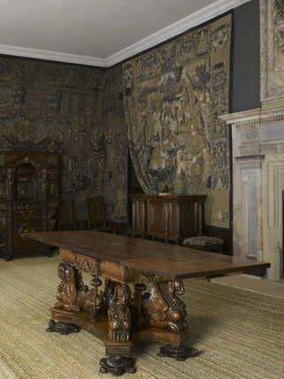 The sea dog table in the Withdrawing Chamber at Hardwick Hall, Derbyshire