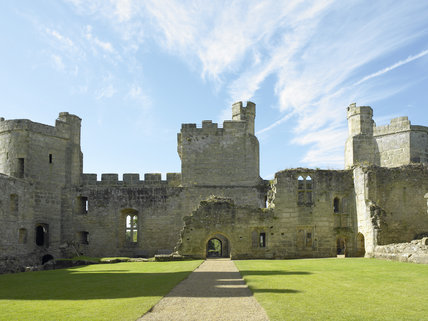 View towards the South Range and Great Hall, now in ruins, at Bodiam Castle, East Sussex, built between 1385 and 1388