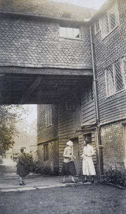 Archive photograph of members of the Ferguson Gang at Shalford Mill, with Bill Stickers (right), Sister Agatha (middle) and Red Biddy (left)
