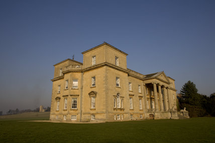 South and West fronts of eighteenth-century Croome Court, Croome Park, Worcestershire, with Capability Brown's church in the background