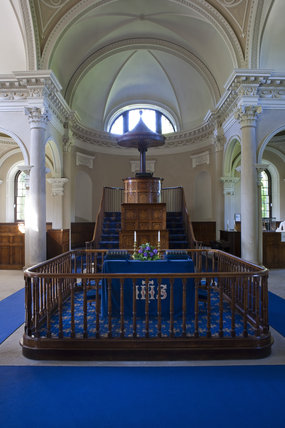 Inside the Palladian Chapel, begun in 1760 to the design of James Paine, at Gibside, Newcastle upon Tyne