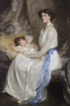 LADY WINIFRED PAGET, VISCOUNTESS INGESTRE AND HER INFANT SON, LATER 21st EARL OF SHREWSBURY (1914-1980) by Sir James Jebusa Shannon, RA (1862-1923), painting on the Middle Landing at Plas Newydd, Anglesey
