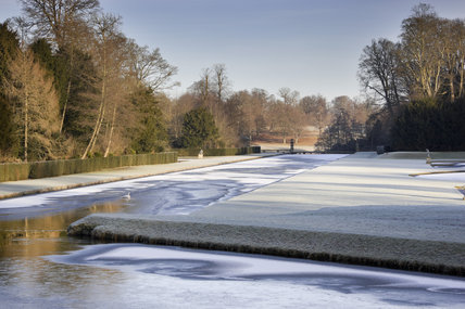 The canal in winter at Studley Royal Water Garden, adjoining the estate at Fountains Abbey, North Yorkshire