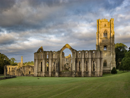 The east end of Fountains Abbey, North Yorkshire, a Cistercian community of monks from the twelfth century until the Dissolution in 1539