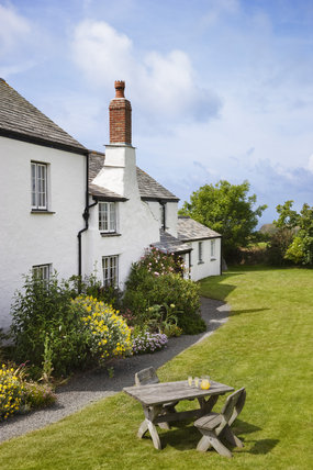 Lower Tresmorn Farm, a medieval farmhouse on the South West Coastal path, now also a National Trust bed & breakfast establishment, at Crackington Haven, Bude, Cornwall