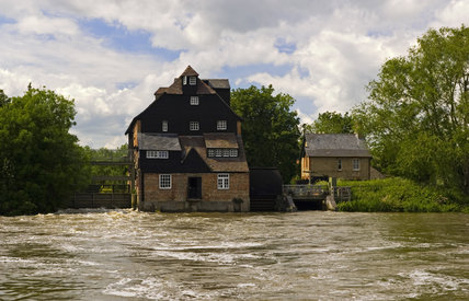 Houghton Mill, an eighteenth-century watermill, the last working watermill on the Great Ouse in Cambridgeshire