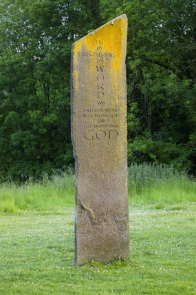 One of the Millennium Stones, a modern standing stone circle, installed at Gatton Park, Surrey, by The Jerusalem Trust to mark 2000 years since the birth of Christ