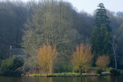 A glimpse of the Gothic Cottage, and trees before their spring leaves have appeared, at Stourhead, Wiltshire, in March