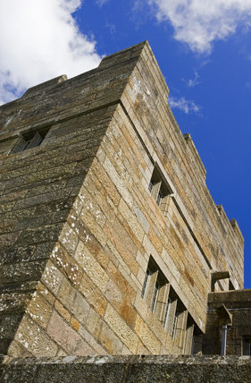 Looking up at the North Tower of Castle Drogo, Devon