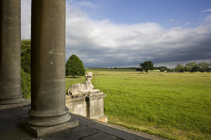 View from the portico of Croome Court looking towards Park Seat at Croome Park, Croome D'Abitot, Worcestershire