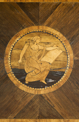 Marquetry roundel of a classical figure at Berrington Hall, Herefordshire