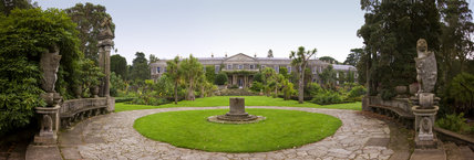 Panoramic view over the Italian Garden and house at Mount Stewart, Co Antrim, Northern Ireland.