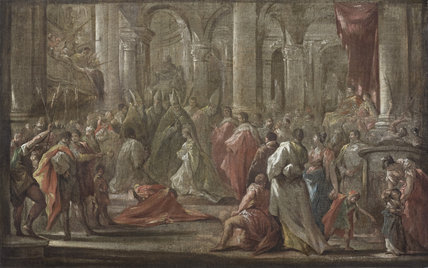 CORONATION OF THE EMPRESS ELEONORA OF PFALZ-NEUBURG (1655-1720)  by Giovanni Antonio Pellegrini (1675-1741)  sketch, oil on canvas at Hinton Ampner