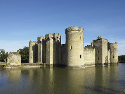 View from the north west of Bodiam Castle, East Sussex, built between 1385 and 1388