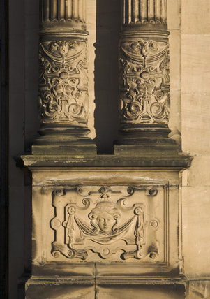 Decorative base of the columns on the exterior of Dunham Massey, Cheshire