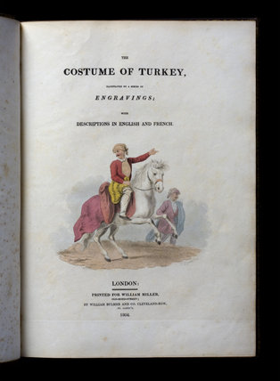 Title page of The Costumes of Turkey, at Castle Ward, Co. Down, Northern Ireland.