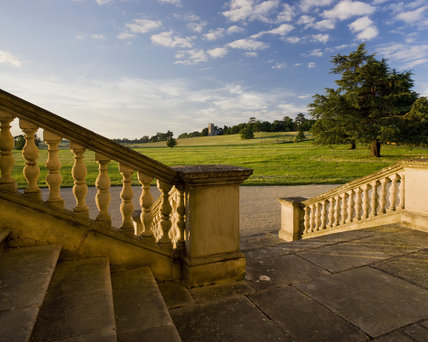 The view from the steps of Croome Court towards the Church of St Mary Magdalene at Croome Park, Croome D'Abitot, Worcestershire