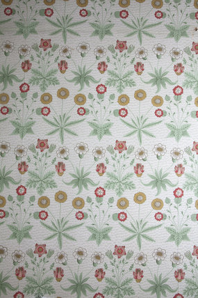 Daisy wallpaper in the Service Corridor, designed by William Morris, at Gunby Hall, Lincolnshire