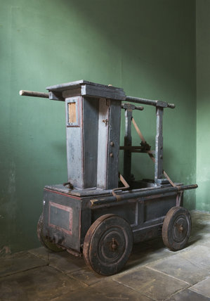 An early example of a fire cart at Dunham Massey, Cheshire
